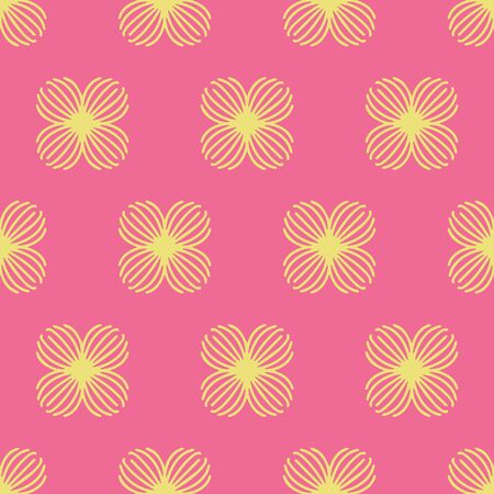 Simple floral repeat vector brick pattern in pink yellow. Cute hand drawn flowers repeat pattern suitable for textile, wallpaper and paper. Illusztráció