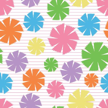 Rainbow Pinwheel Daisies vector seamless repeat pattern. Fun, multi color floral pattern suitable for wallpaper, fabric and paper. Illusztráció