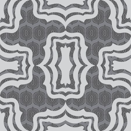 Trendy Layered Bracket shapes vector seamless repeat pattern. Layers of hand drawn brackets in shades of gray, perfect for drapes, fabric, wallpaper and backgrounds.