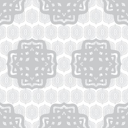 Celtic inspired layered repeat seamless vector pattern in Gray. Monochrome layered pattern would make an interesting wallpaper or backdrop. Colors can be changed.