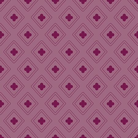 Simple editable diamond clover vector seamless repeat pattern. Versatile hand drawn pattern shown in berry red but color is editable. Perfect for packaging, backgrounds, wallpaper, textile and more.