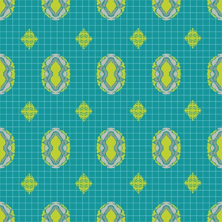 Ornate oval diamond vector seamless pattern in chartreuse and teal. Intricate, hand drawn elements formed in a brick repeat pattern with graph background. All colors are editable.