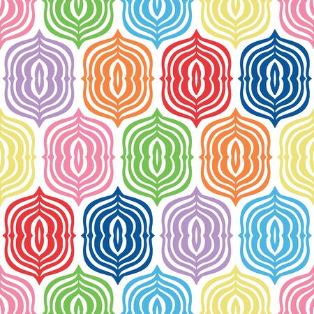 Multi color neutral gender ogee brackets vector seamless pattern. I can picture this bright pattern on a playroom wall, in a neutral gender baby nursery, and also as bedding for a teen.