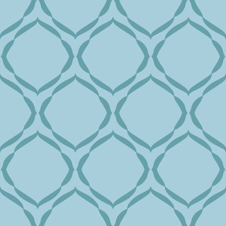 Simple Ogee teal blue vector seamless repeat pattern. Editable color modern pattern for wallpaper, textile, paper, etc.