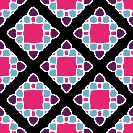 Mosaic Tile editable color vector seamless repeat pattern. Hand drawn mosaic look tile elements can be changed to any color you like, as well as the background.