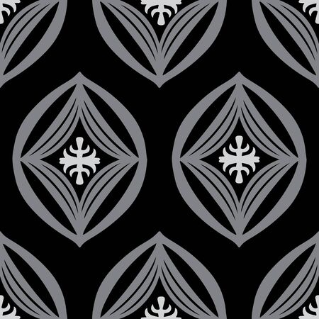 Modern oval diamond symbol monochrome vector repeat pattern. Versatile elements shown in gray and black. All colors are editable.