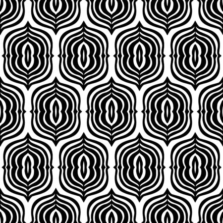 Modern black white ogee bracket vector repeat pattern. Trendy, seamless pattern shown in black and white can be changed to any color you like.