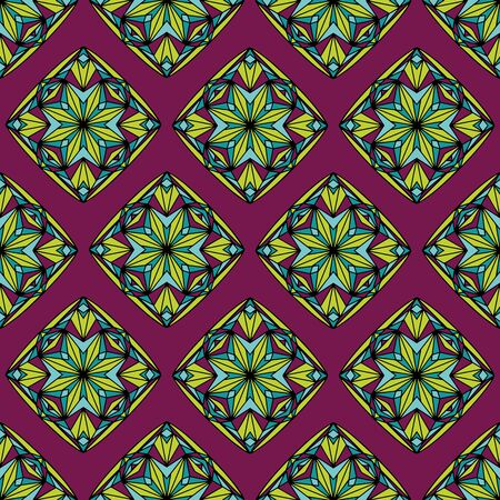Stained glass quilt inspired vector seamless repeat pattern. Hand drawn blocks shown in chartreuse, teal and berry. Colors are editable.