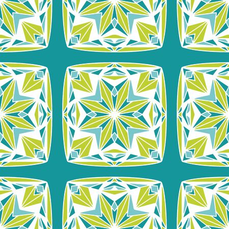Star Block Quilt chartreuse teal vector seamless pattern. Hand drawn star block resembling quilt squares. Colors are editable.