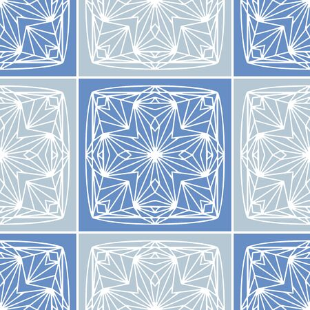 Classic blue gray quilt block vector seamless pattern. Beautiful quilt block pattern in blue, grey and white.