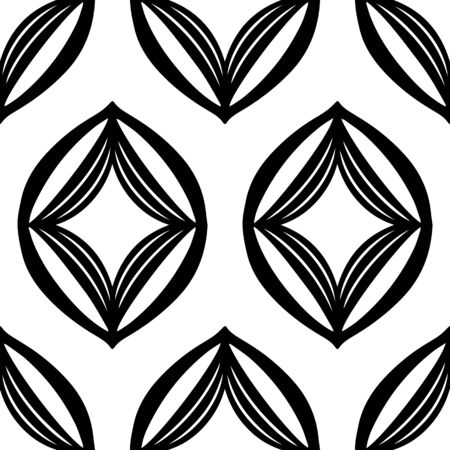 Minimalist black and white ogee vector seamless pattern. Clean design style with editable vector file.