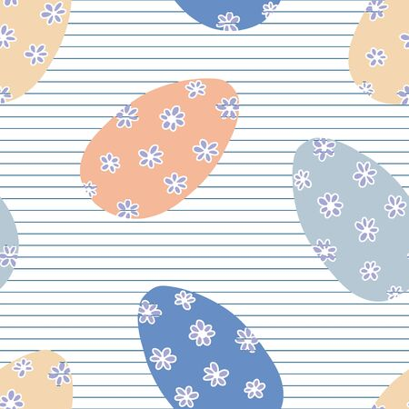 Floral Easter Eggs in soft neutral colors vector seamless pattern. Easter egg pattern with pinstripe background and little hand drawn daisies.