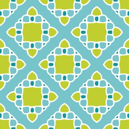 Chartreuse and teal mosaic tile seamless vector pattern. All colors on this hand drawn tile design can be changed to suit your needs.