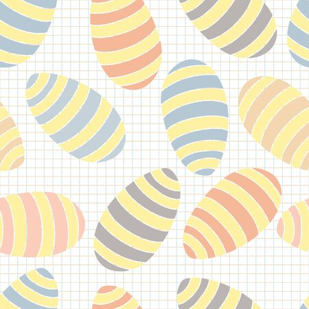 Vintage Striped Easter Egg vector seamless pattern. Muted colored striped eggs with a small grid background. All colors can be changed. Illusztráció