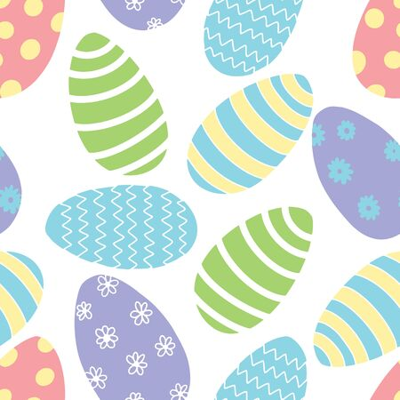 Pastel Colors Decorated Easter Egg vector seamless pattern. Floral, dots, zig zag, stripes in fun Spring Colors. All colors can be changed.