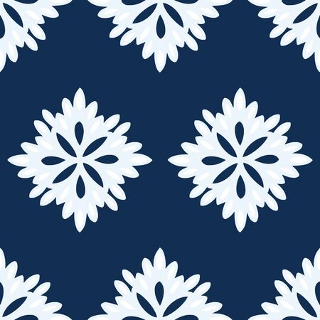 Abstract floral seamless repeat pattern in navy blue and white. Simple pattern of very light blue and white flowers on a navy blue background. Colors coordinate with color of the year Classic Blue. Illusztráció