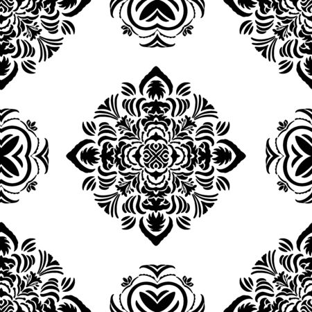 Tribal vector seamless pattern in simple black and white. Hand drawn symmetrical elements with an African Tribal flair. Beautiful for wallpaper, bedding, home decor, textile and printing. All colors can be changed.