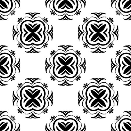 Ethnic vector seamless pattern with tiled motifs in black and white. Hand drawn element pattern with a tribal vibe for fabric, wallpaper, paper, backgrounds and more. Illusztráció