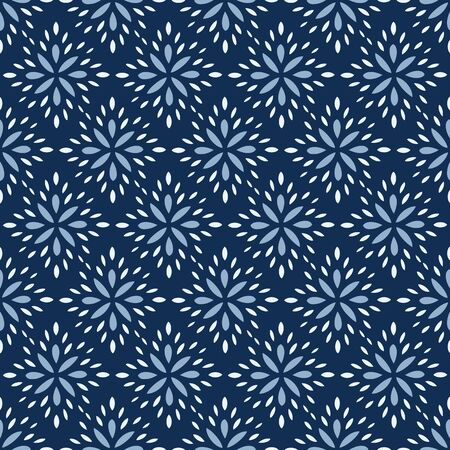 Seamless Vector Pattern of abstract flower petals in classic blue. Dense pattern of hand drawn diamond shaped floral elements in a simple, brick repeat pattern.