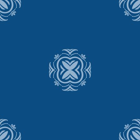 Vector seamless pattern of small elements on classic blue background.