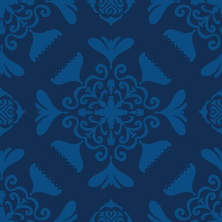 Vector seamless pattern modern abstract floral tile design. Hand drawn elements with a slight folk art flair in a monochromatic classic blue color palette. Illusztráció
