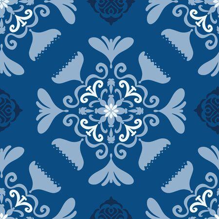 Vector seamless pattern folk art floral tile on classic blue. Hand drawn elements with a slight folk art flair.