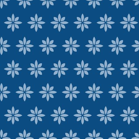 Simple Tiny daisy vector repeat pattern in classic blue.