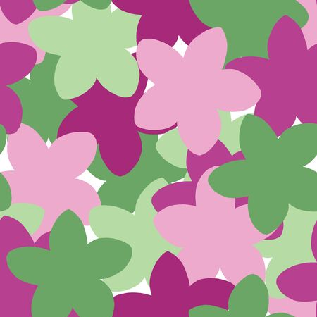 Simple flower silhouette layers seamless vector pattern in pink green and fuchsia. Five Petal flowers overlapping in fun layers.