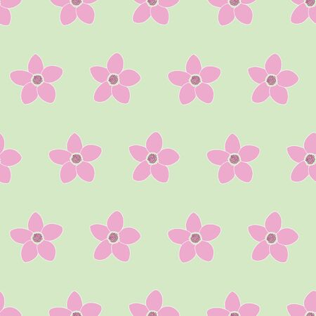 Cute pink green floral seamless vector pattern design. Simple floral design for bedroom, bedding, and clothing.