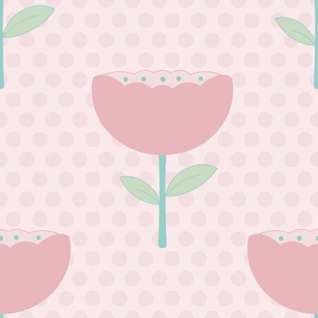 Modern Pastel floral seamless vector pattern in soft colors . Perfect for a baby girl nursery or bedroom.