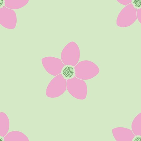 Simple pink and green floral seamless vector pattern design. Cute pink 5 petal flowers on a green background. Illusztráció