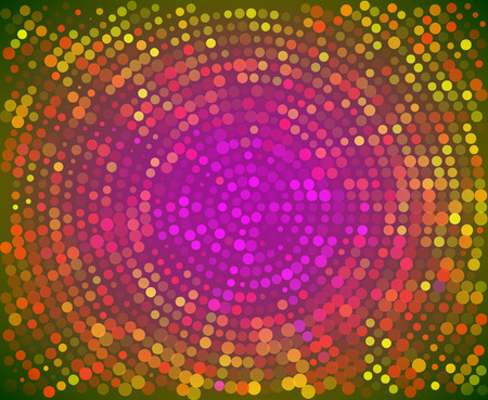 Abstract colorful random dots array background. Small multicolored confetti point is scattered in a Radial Circle in the form of dots on color background. Vector illustration for artwork, flayers
