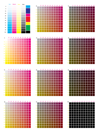 CMYK press color chart vector color palette, CMYK process printing match. For digital design, animation, and packaging when CMYK printing is required. Illustration