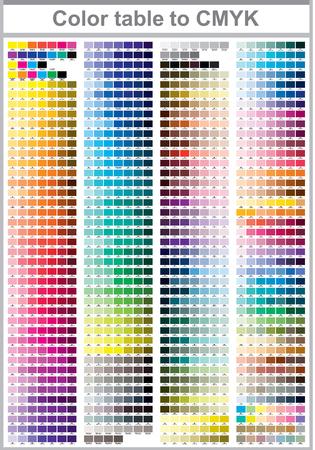 Table des couleurs Pantone à CMYK. Page de test d'impression couleur. Illustration couleurs CMJN pour impression. Palette de couleurs vectorielles