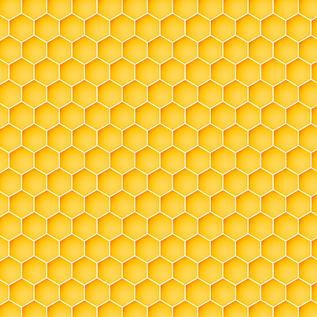 Honeycomb background from a bee hive. Vector illustration of geometric texture.