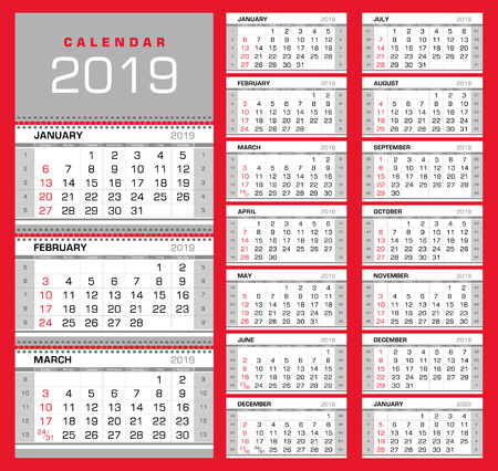 Wall quarterly calendar 2019 with week numbers on white background. Week start from Sunday. Ready for print. Vector Illustration
