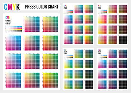 CMYK press color chart. Vector color palette, CMYK process printing match. Color management, quality control in print production. Cyan, magenta, yellow, black are base colors and others has been created combining them. To use in prepress and the press to choose color samples. 版權商用圖片 - 118886539
