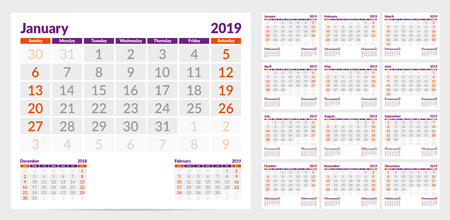 Calendar 2019. Week start from Sunday. Set of 12 Months. Ready for print. Vector Illustration
