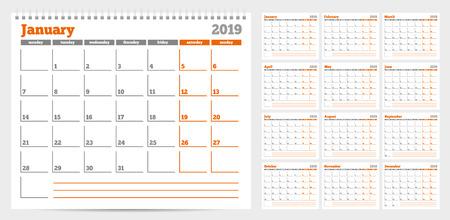 Calendar planner template 2019. Week start from Monday. Set of 12 Months. Ready for print. Vector Illustration Illustration