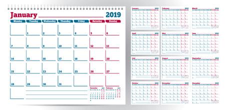 Calendar planner template 2019. Week start from Monday. Set of 12 Months. Ready for print. Vector Illustration Иллюстрация