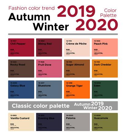Moda Kolor Trend Jesień Zima 2019-2020 i Klasyczna Paleta Kolorów. Paleta modnych kolorów z nazwanymi próbkami kolorów.