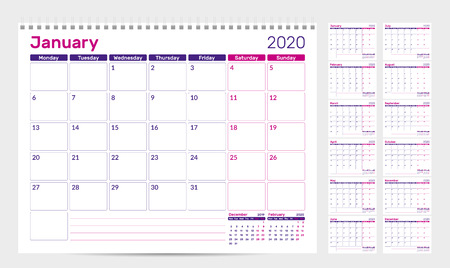 Calendar planner template 2020. Week start from Monday. Set of 12 Months. Ready for print. Vector Illustration