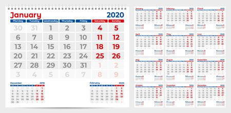 Calendar 2020. Week start from Monday. Set of 12 Months. Ready for print. Vector Illustration Ilustração
