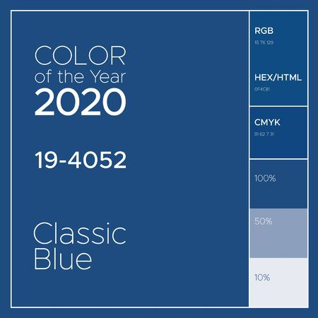Color of the Year 2020 - Classic Blue. Fashion color trend