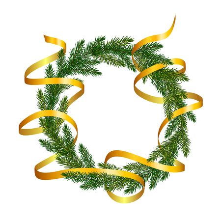Wreath of fir tree branches with a golden ribbon wrapping around it. Christmas tree branches frame for greeting New Year and Christmas cards, banners, invitations