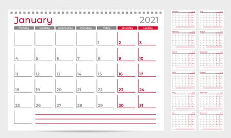 Modèle de planificateur de calendrier 2021. Début de la semaine à partir du lundi. Ensemble de 12 mois. Prêt pour l'impression. Illustration vectorielle