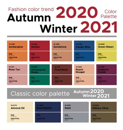 Fashion color trend Autumn Winter 2020-2021. Palette fashion colors guide with named color swatches, RGB, HEX colors. 向量圖像