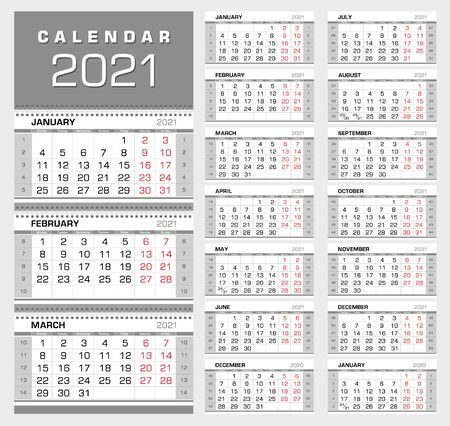 Wall quarterly calendar 2021 with week numbers. Week start from Monday. Ready for print, color - Black, Red, Silver. Vector Illustration 矢量图像