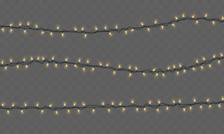 Christmas lights isolated on a transparent background. Christmas electric garland of yellow light bulbs. Glowing lights for Christmas greeting card design, holiday decorations. Vector illustration