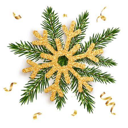 Golden snowflake on the branches of a fir tree with gold ribbons. Concept for greeting New Year and Christmas cards, banners, invitations